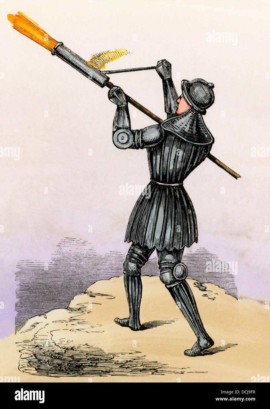 Bombardear a mano, un cañón de mano de los 1400s, posiblemente la primera arma de fuego portátil. Imagen De Stock