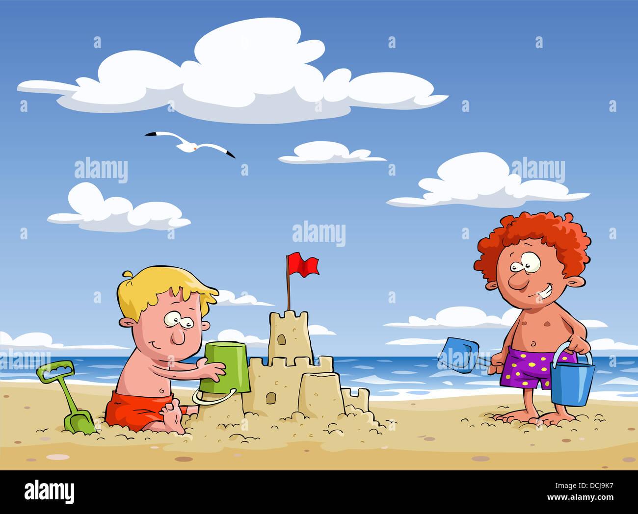Los Niños De Dibujos Animados En La Playa Foto Imagen De Stock