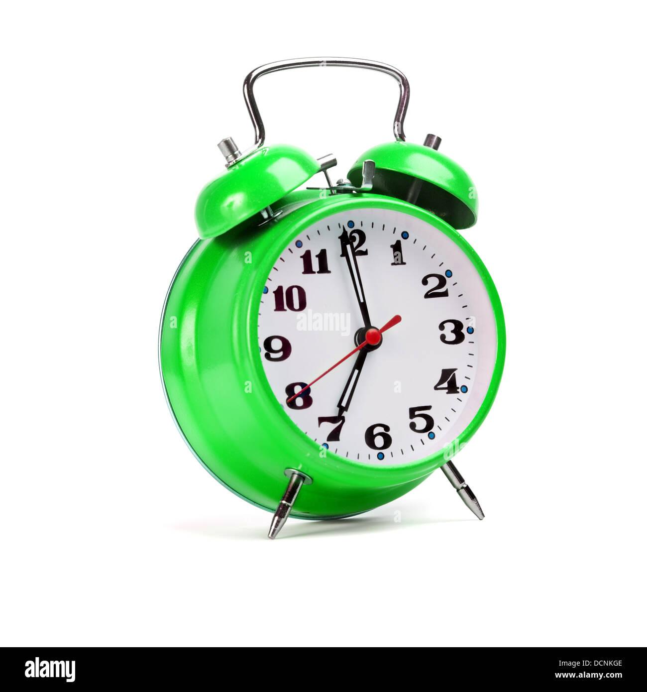 Reloj despertador clásico aislado sobre blanco Imagen De Stock