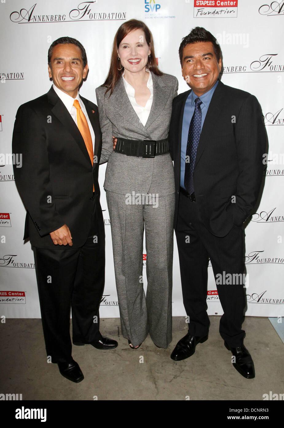 El alcalde Antonio Villaraigosa, Geena Davis y George Lopez 3ª Anual ...