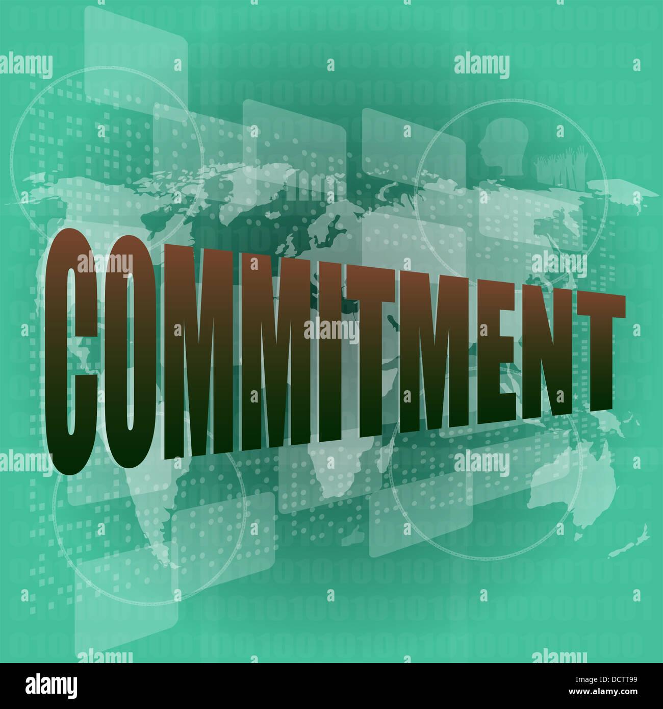 Concepto de negocio: La palabra compromiso por pantalla táctil digital Imagen De Stock