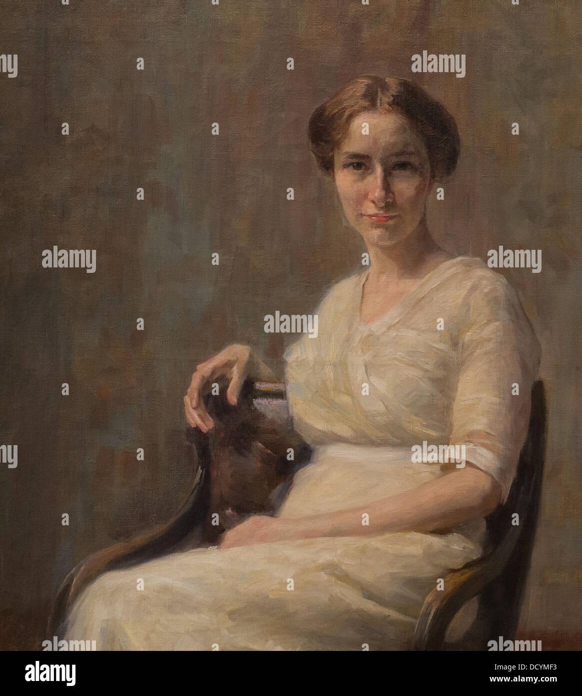Siglo XX - Retrato de Mira - Pintar Ivana Kobilca (1913) óleo sobre lienzo Imagen De Stock