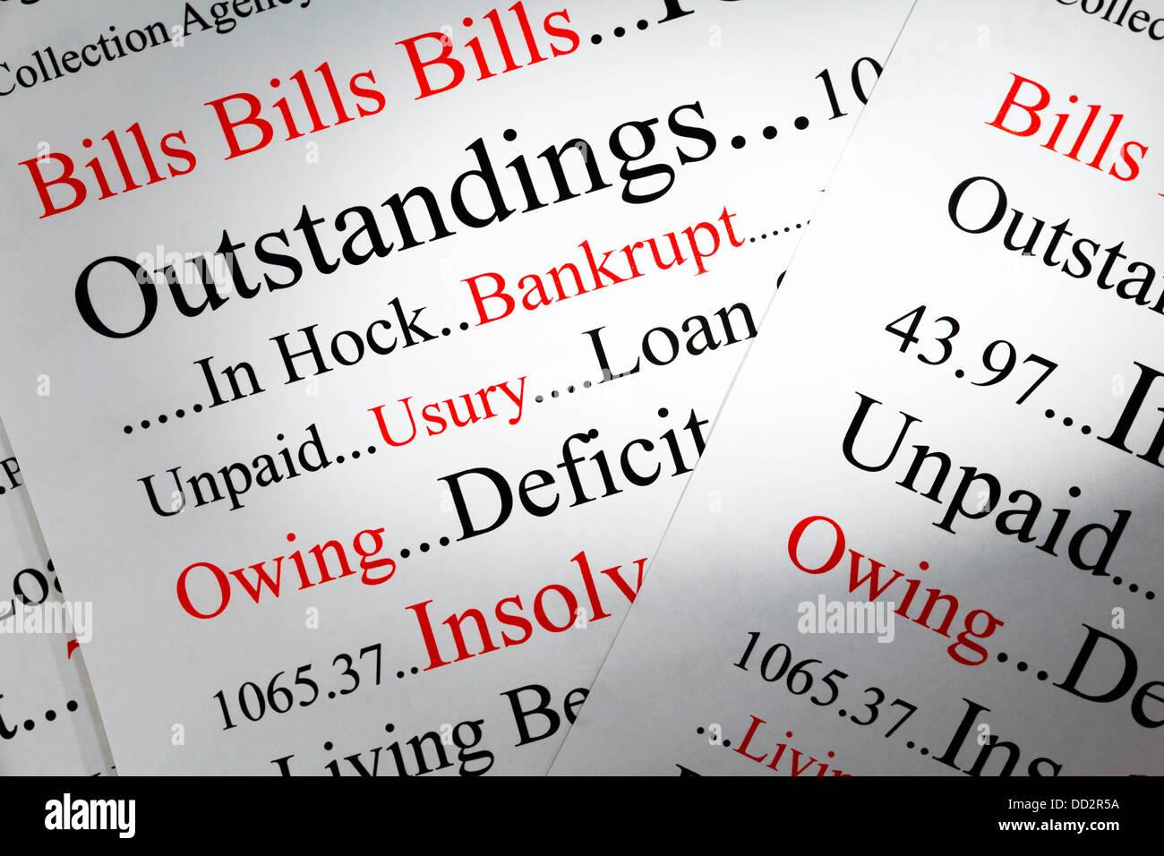 Concepto de deuda - un aspecto conceptual en deuda y debiendo dinero. Foto de stock