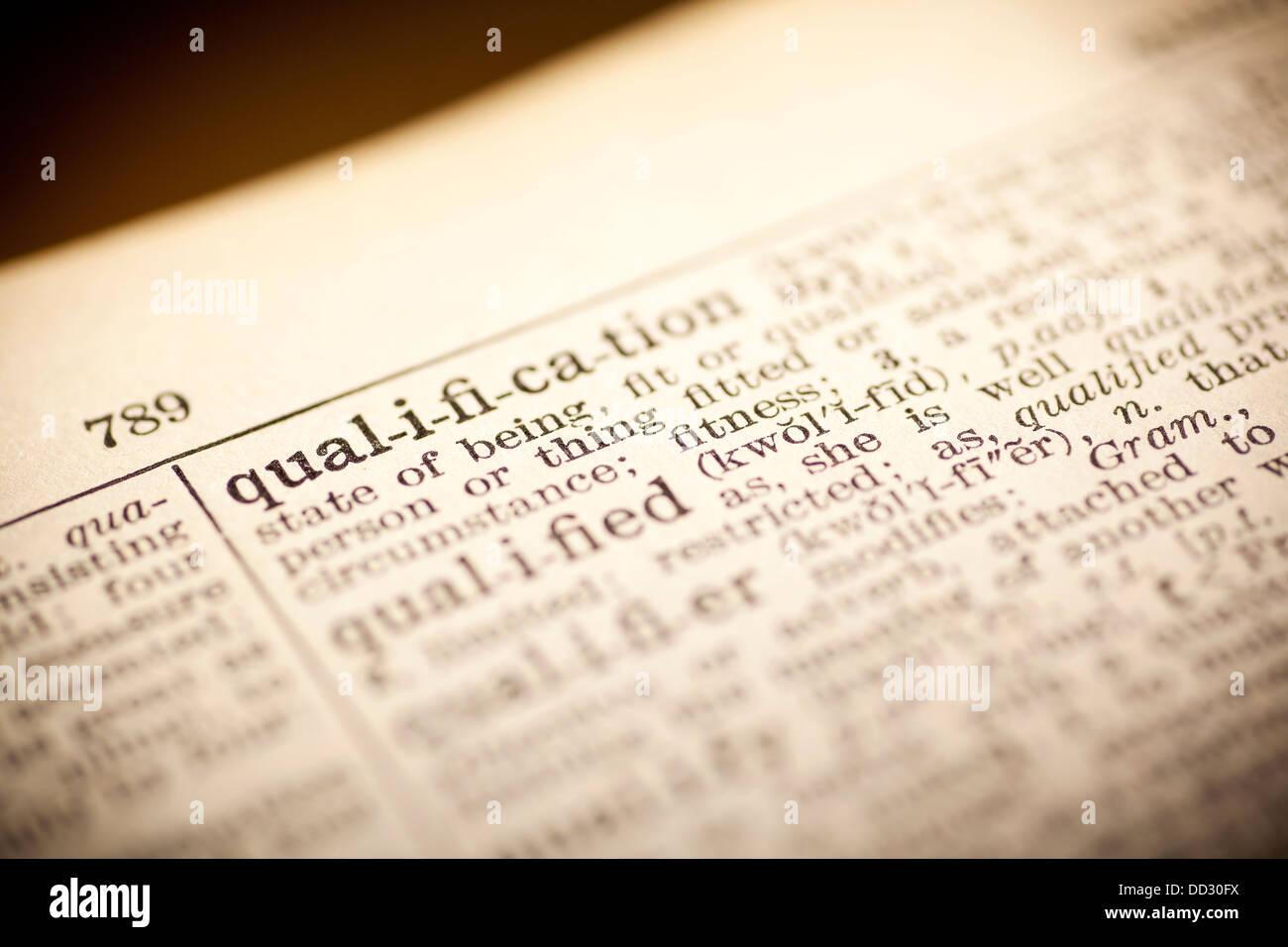 Calificación de palabras del diccionario Imagen De Stock