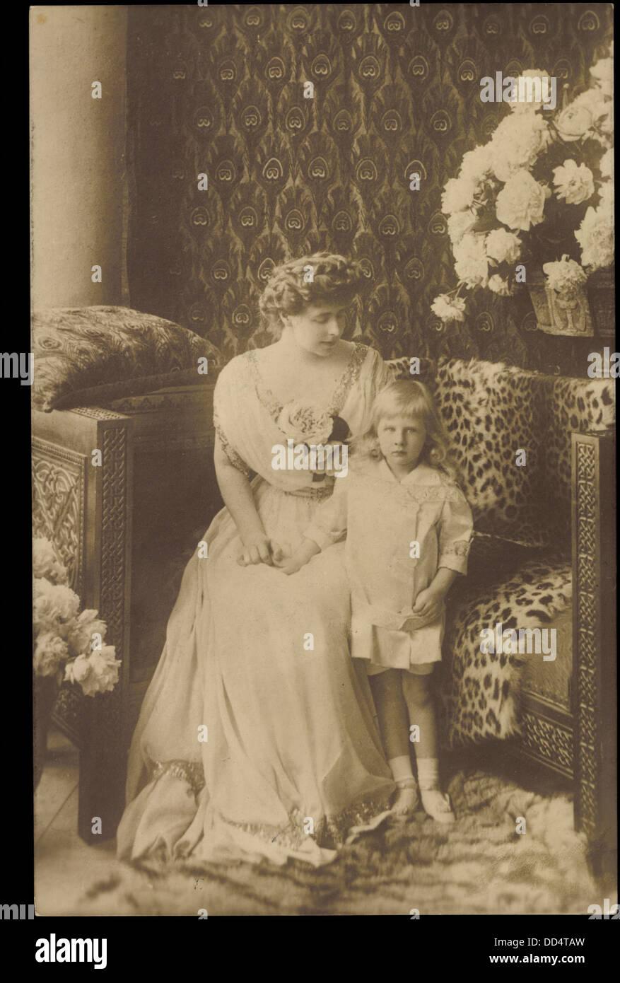 Ak Königin Maria von Prinz Nikolaus von Rumänien; Foto de stock