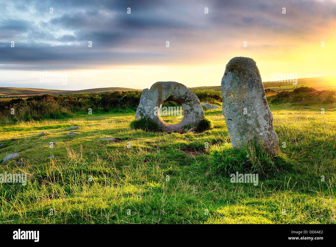 Los hombres una Tol cerca de Penzance en Cornwall. Foto de stock