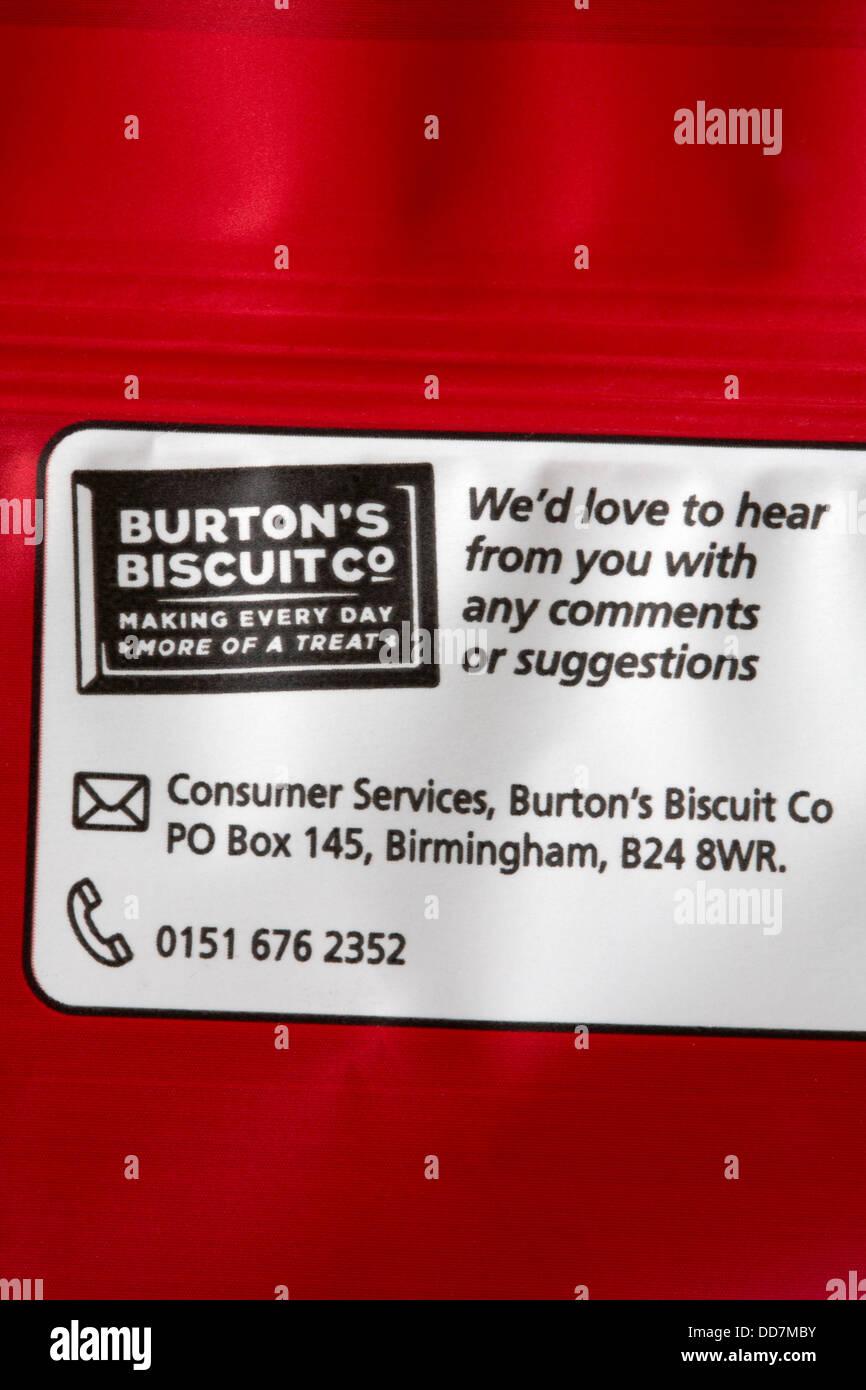 Nos encantaría escuchar de usted con cualquier comentario o sugerencia Burton Biscuit Co haciendo cada día Imagen De Stock