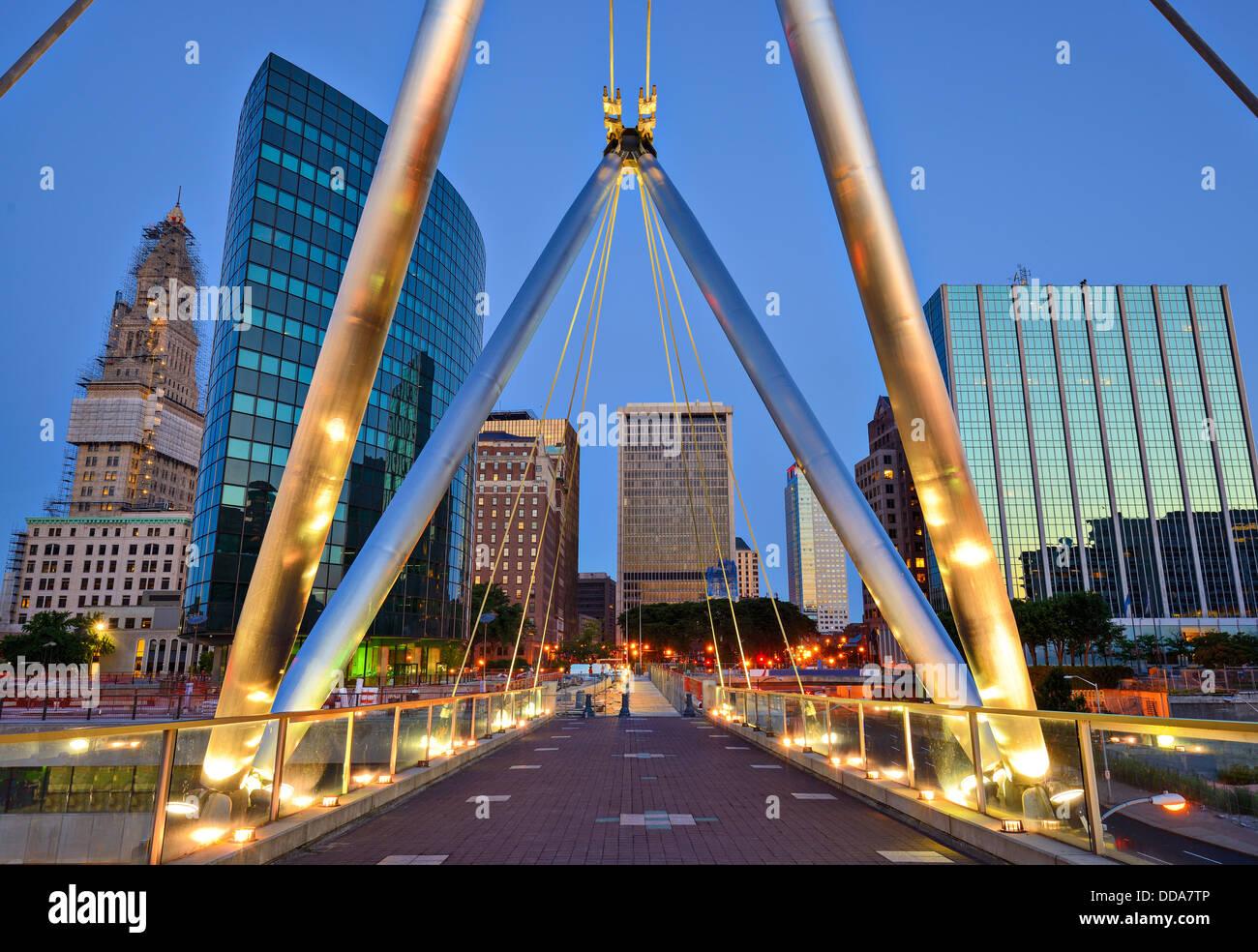 Perfil del centro de la ciudad de Hartford, Connecticut, fundadores del puente. Imagen De Stock