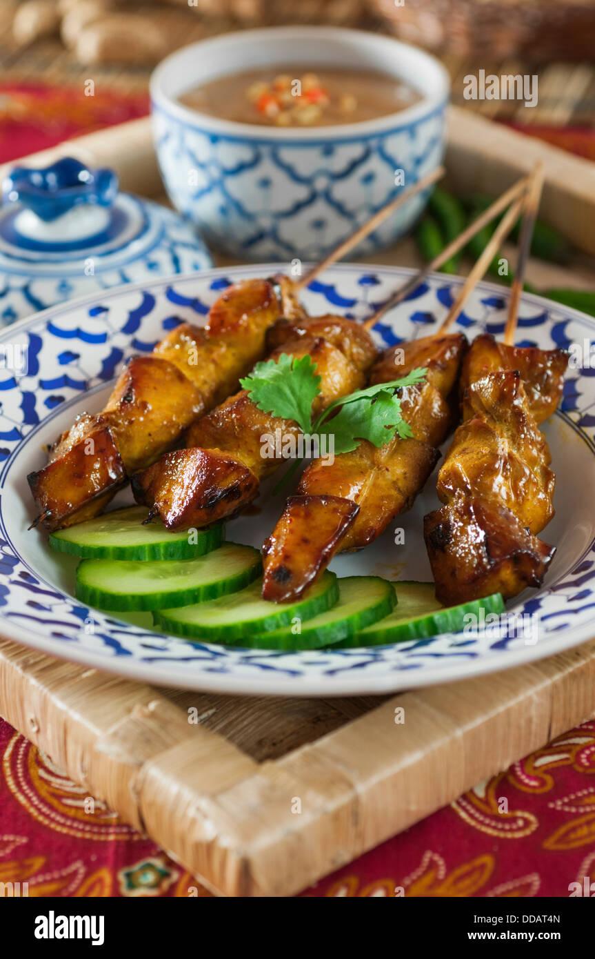 Thai satay con salsa de cacahuete Tailandia comida Imagen De Stock