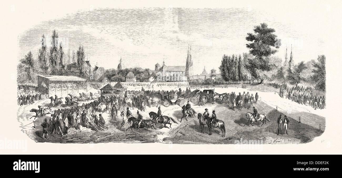 El hipódromo de Chalons-sur-Marne, Francia 1855 grabado. Imagen De Stock