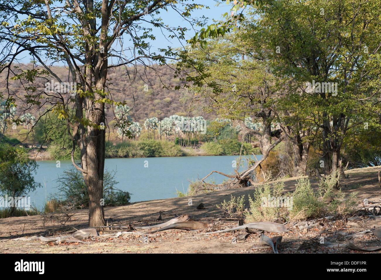 El río Kunene en Namibia es el río fronterizo con Angola. Foto de stock