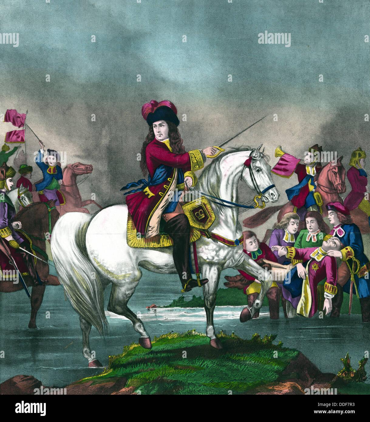 El rey Guillermo III, en la batalla del Boyne Foto de stock