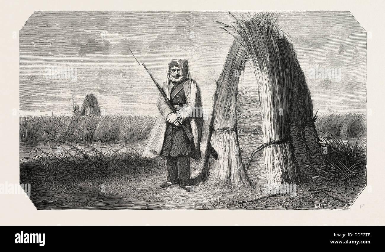 Un centinela turco, acuarela por el Sr. Valerio 1855 grabado. Imagen De Stock