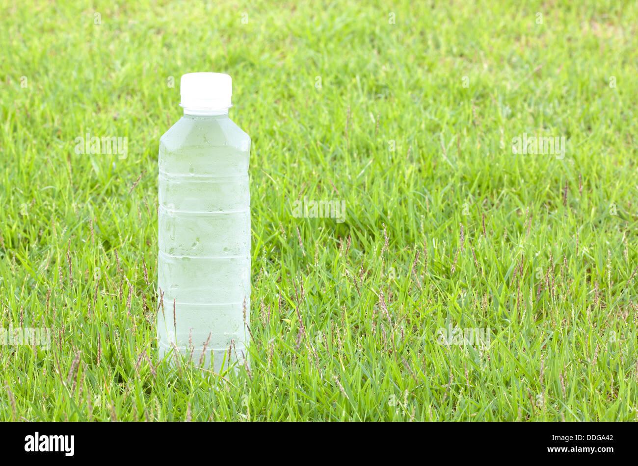 Botellas de plástico para agua fresca, calmar la sed. Fondo de hierba Imagen De Stock