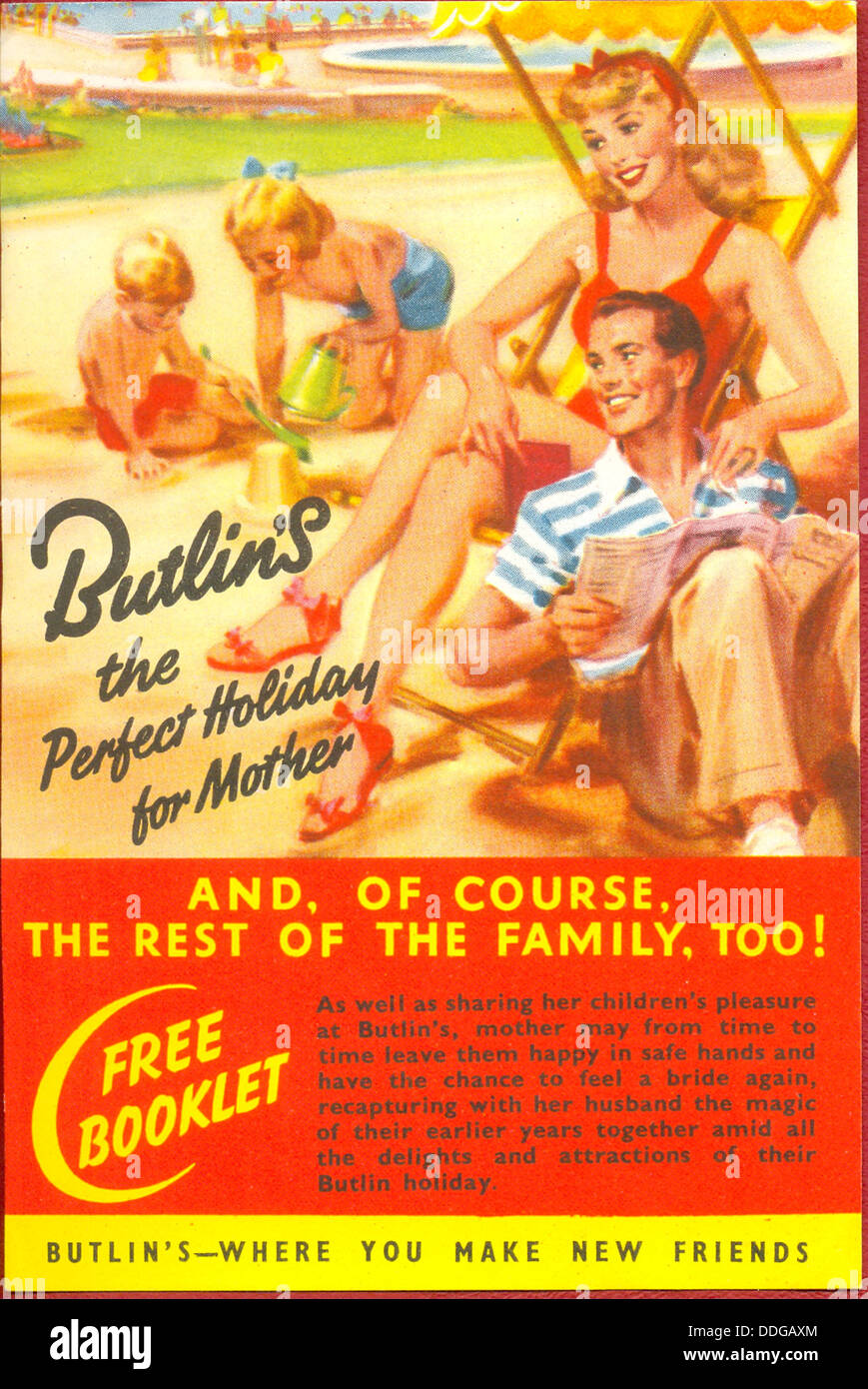 Folleto publicitario para campamentos de vacaciones para Butlin Foto de stock
