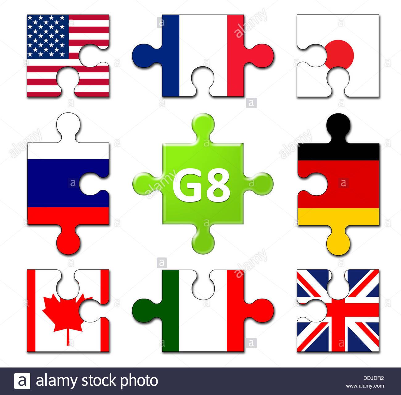 Los países miembros del grupo G8 - Política internacional - Bandera puzzle banner Imagen De Stock
