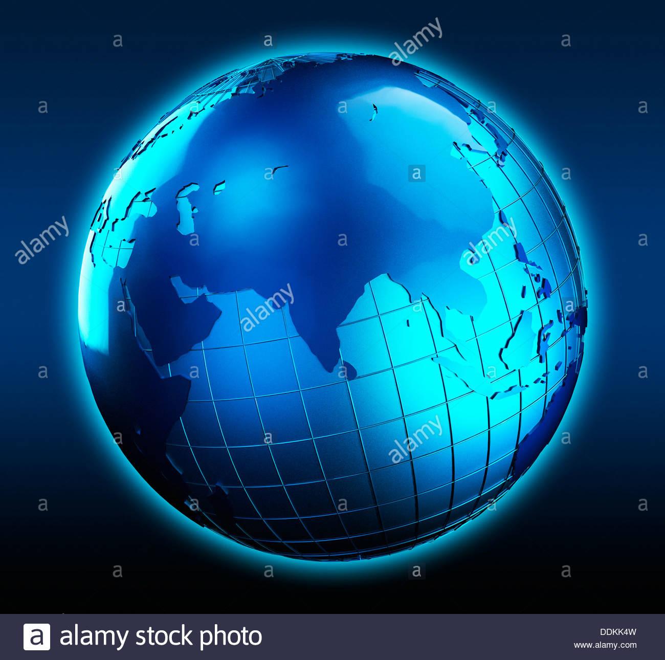 Globo azul se centró en la India Imagen De Stock
