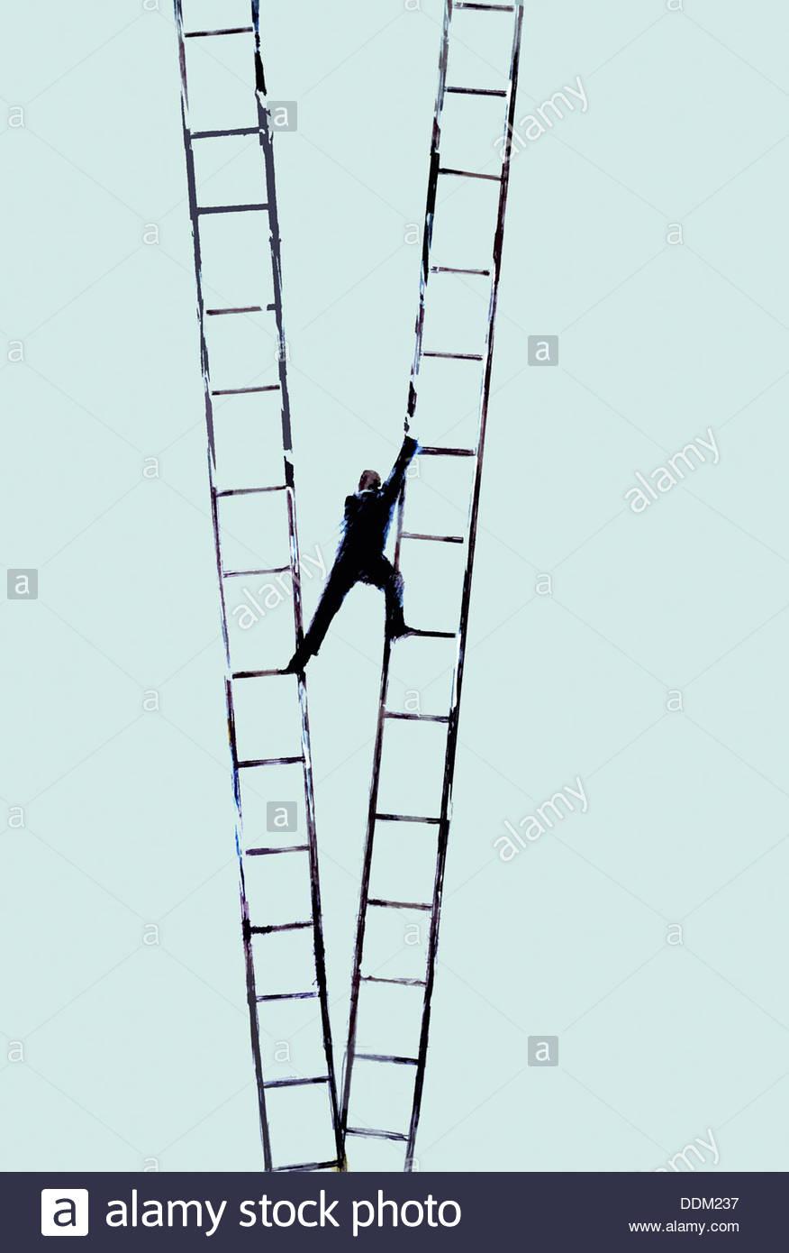 El empresario sube la escalera cambiando de uno a otro Imagen De Stock