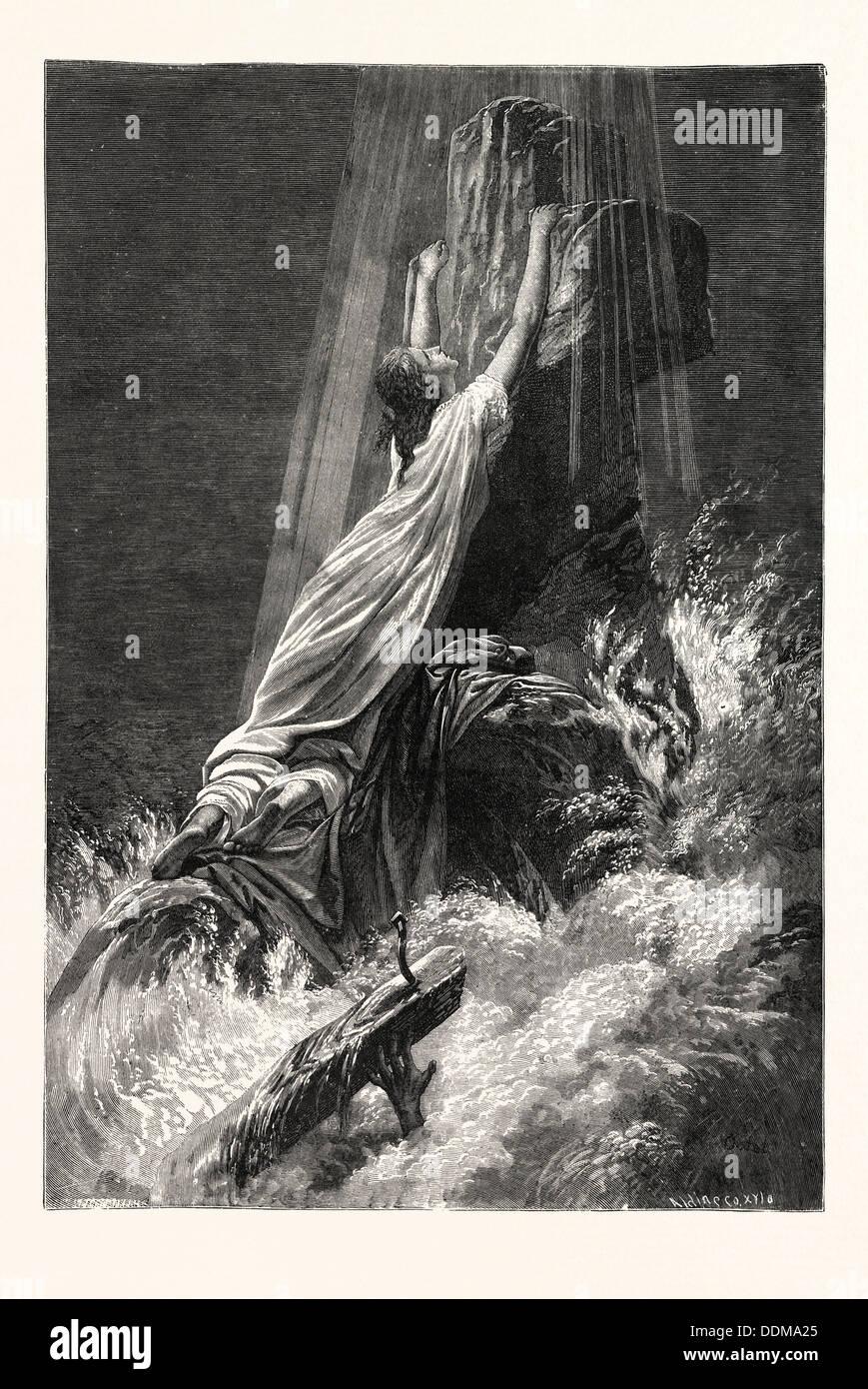 Salvos y perdidos. Impresión religiosa. Imagen De Stock