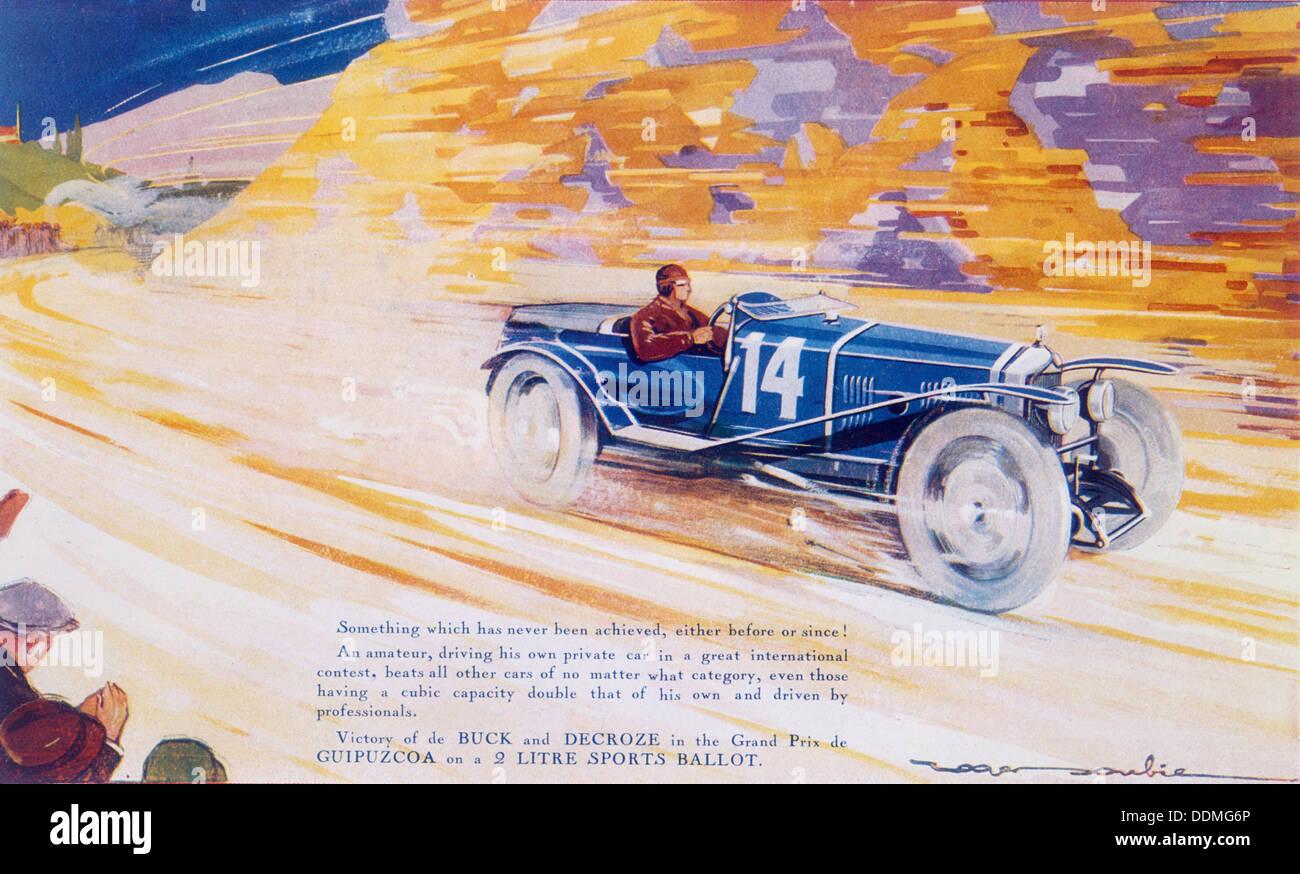 Cartel de publicidad una papeleta de coches deportivos de 2 litros. Imagen De Stock