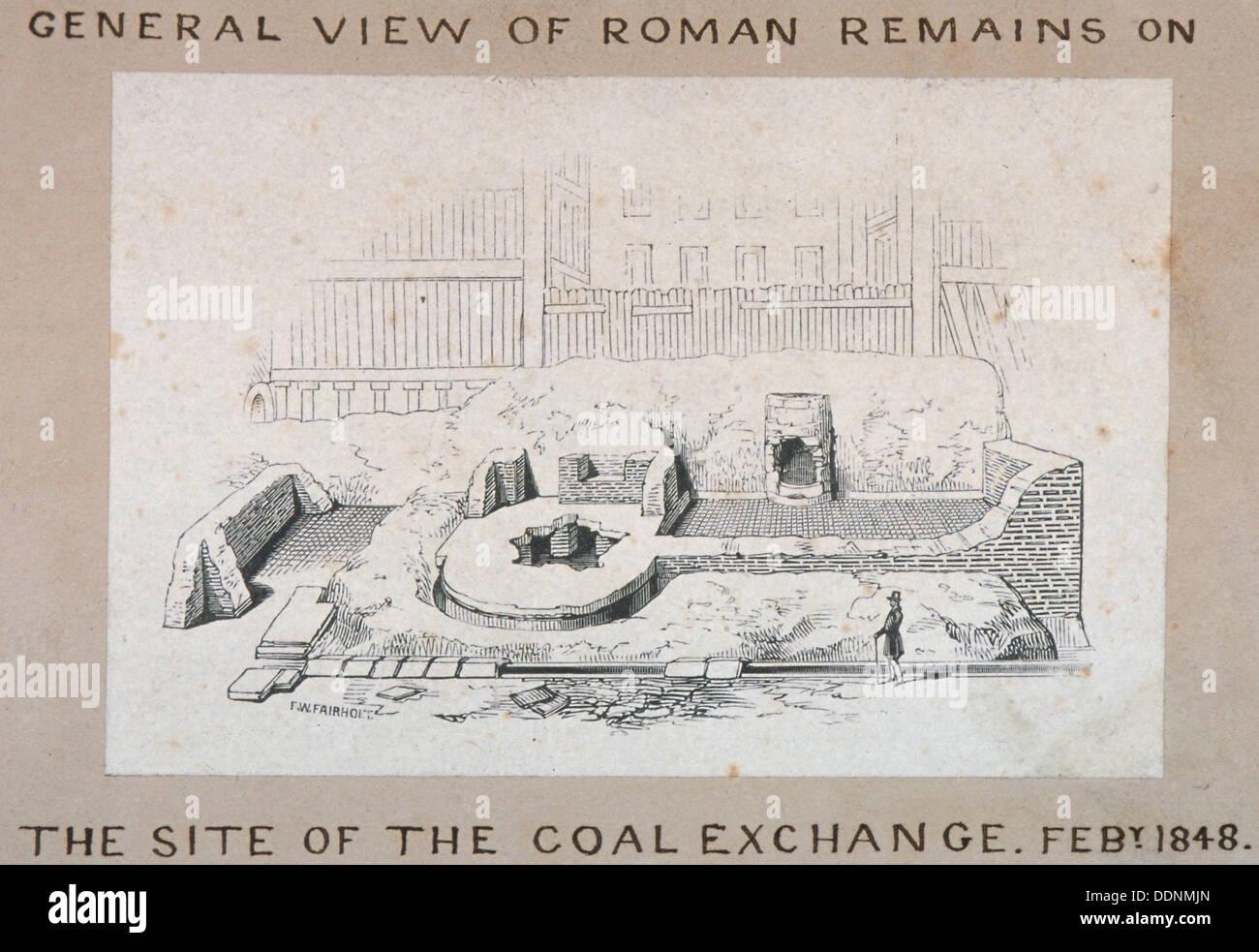Vista de los restos romanos en el sitio del intercambio del carbón, de la ciudad de Londres, 1848. Artista: FW Fairholt Imagen De Stock