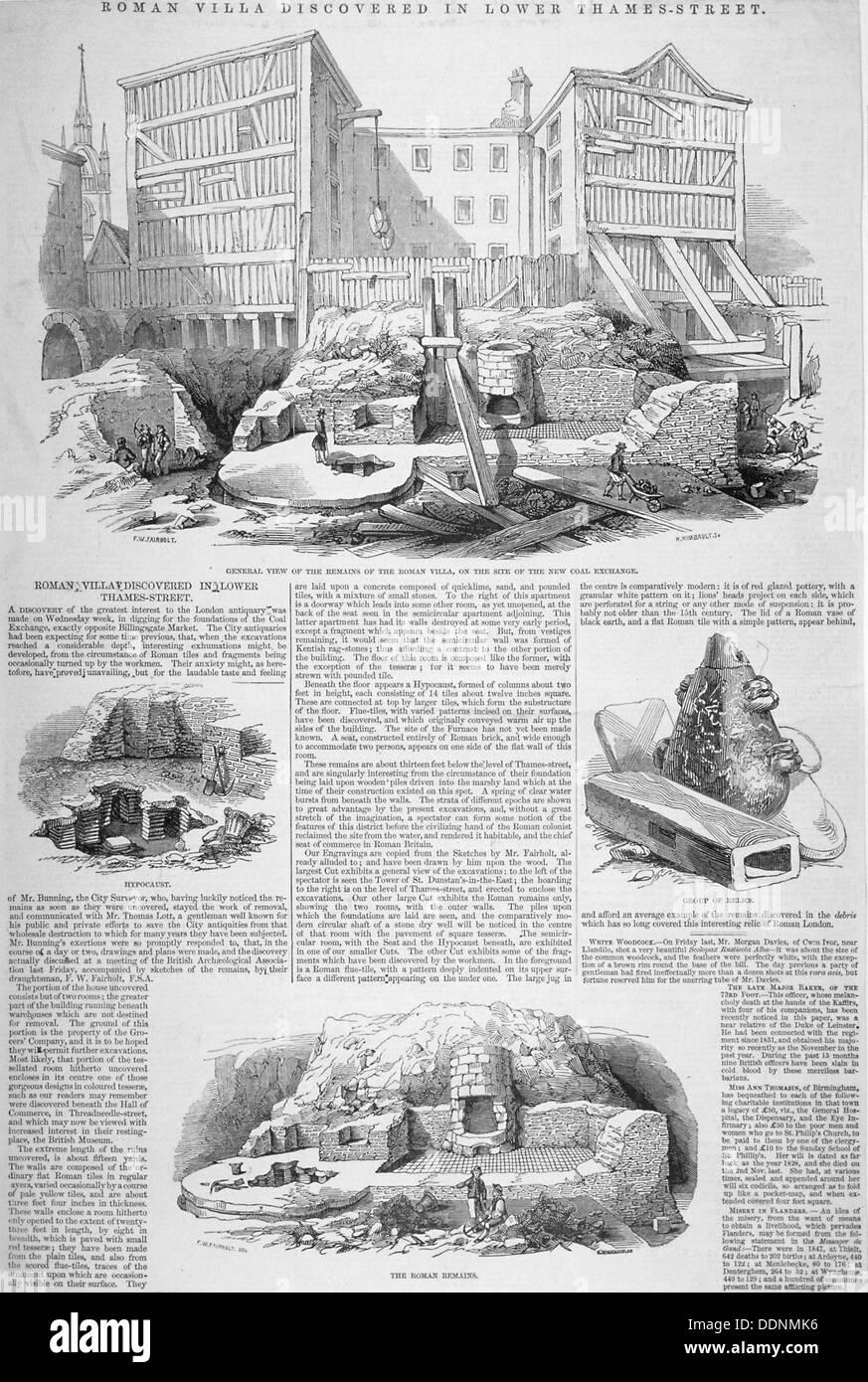 Los restos romanos en el sitio del intercambio del carbón, de la ciudad de Londres, 1848. Artista: H Rimbault Imagen De Stock