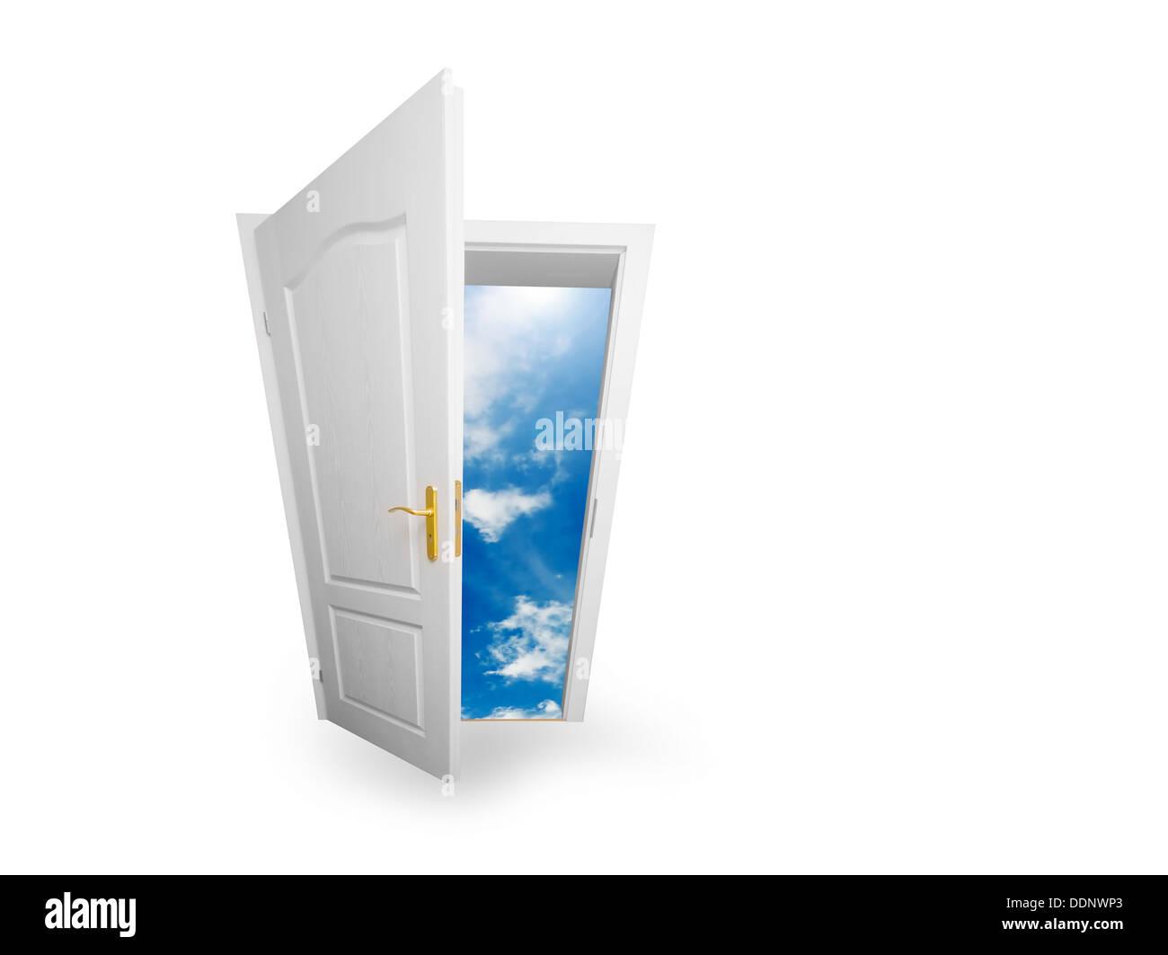 Abra la puerta al nuevo mundo / futuro / sueños/ esperanza / cielo concepto Foto de stock