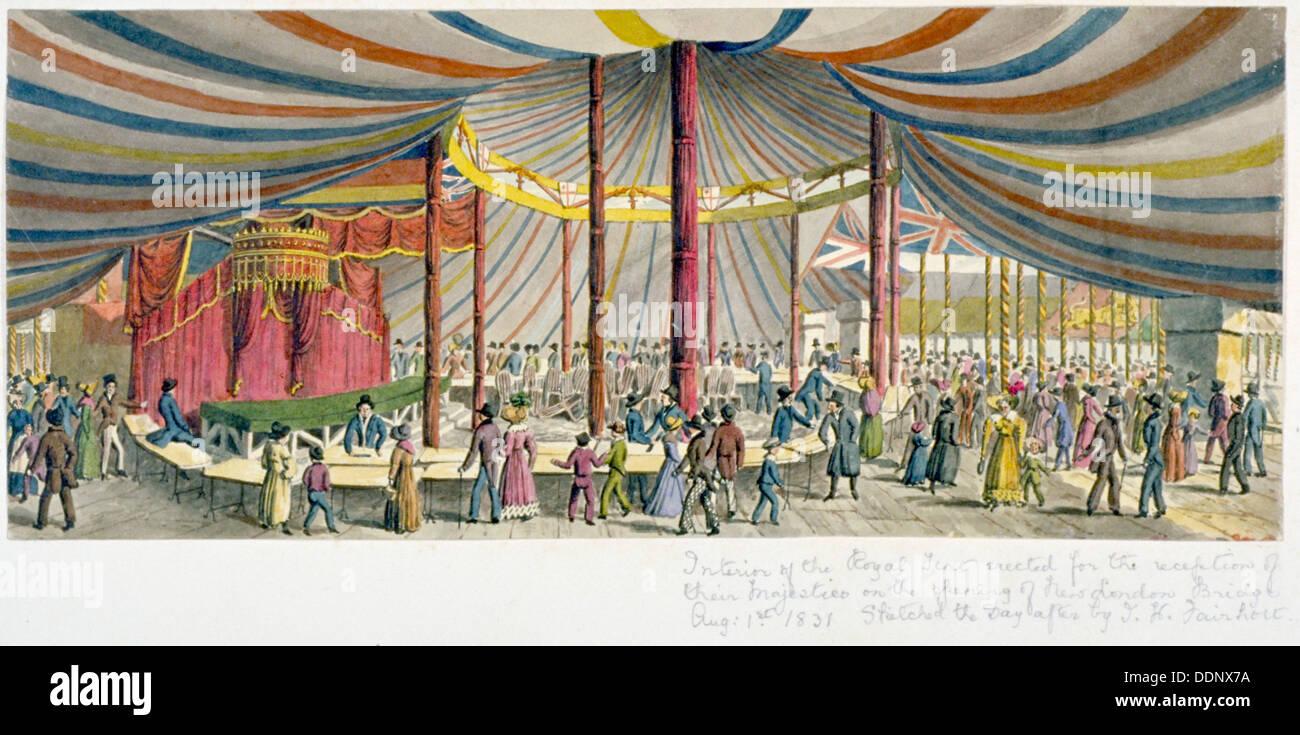 Apertura real del Puente de Londres, 1831. Artista: JH Fairholt Foto de stock