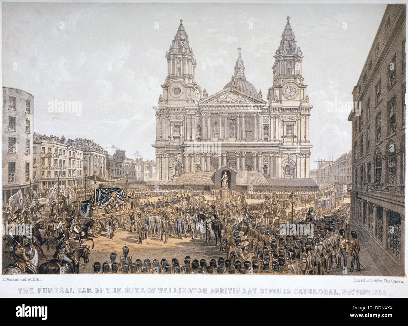 Las exequias del Duque de Wellington, la Catedral de St Paul, de la ciudad de Londres, 18 de noviembre de 1852. Imagen De Stock