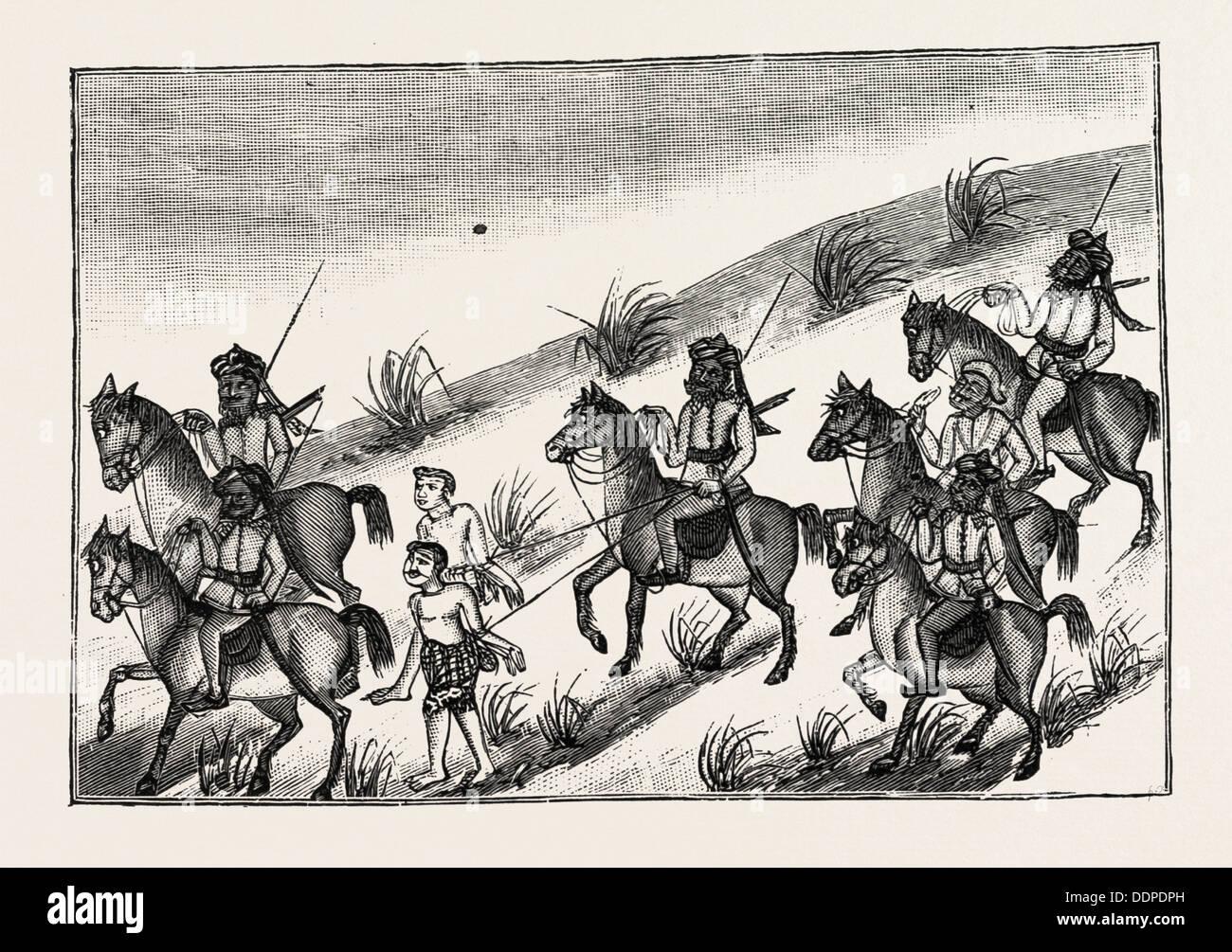 La vida de un DACOIT BIRMANO Y, con sus compañeros, finalmente, capturado, grabado 1890 Imagen De Stock