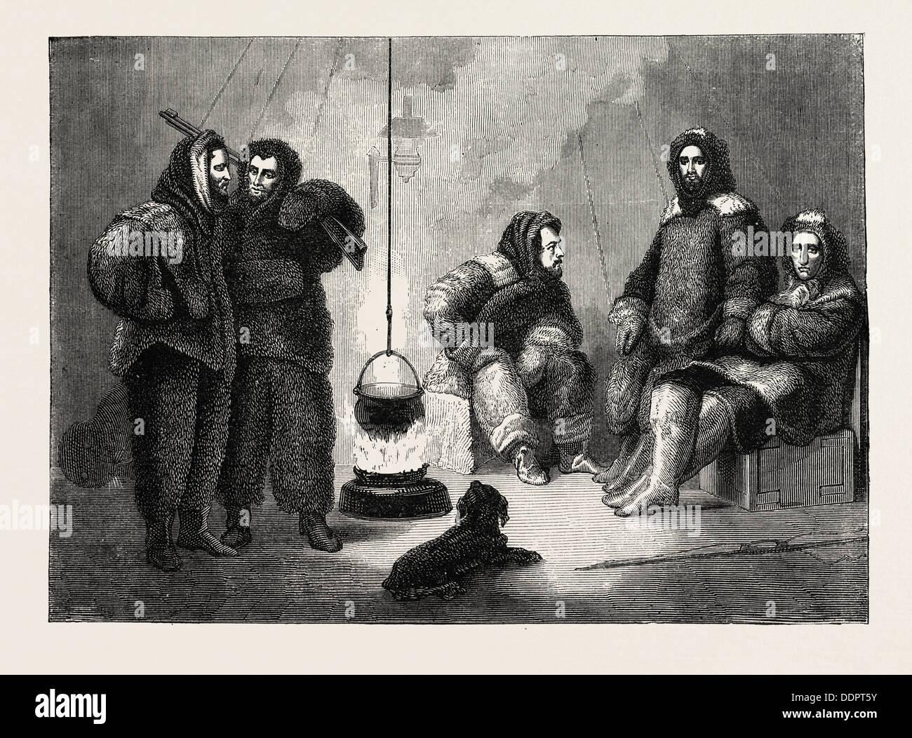 KANE Y SUS COMPAÑEROS en su buque, 1870 grabado Imagen De Stock