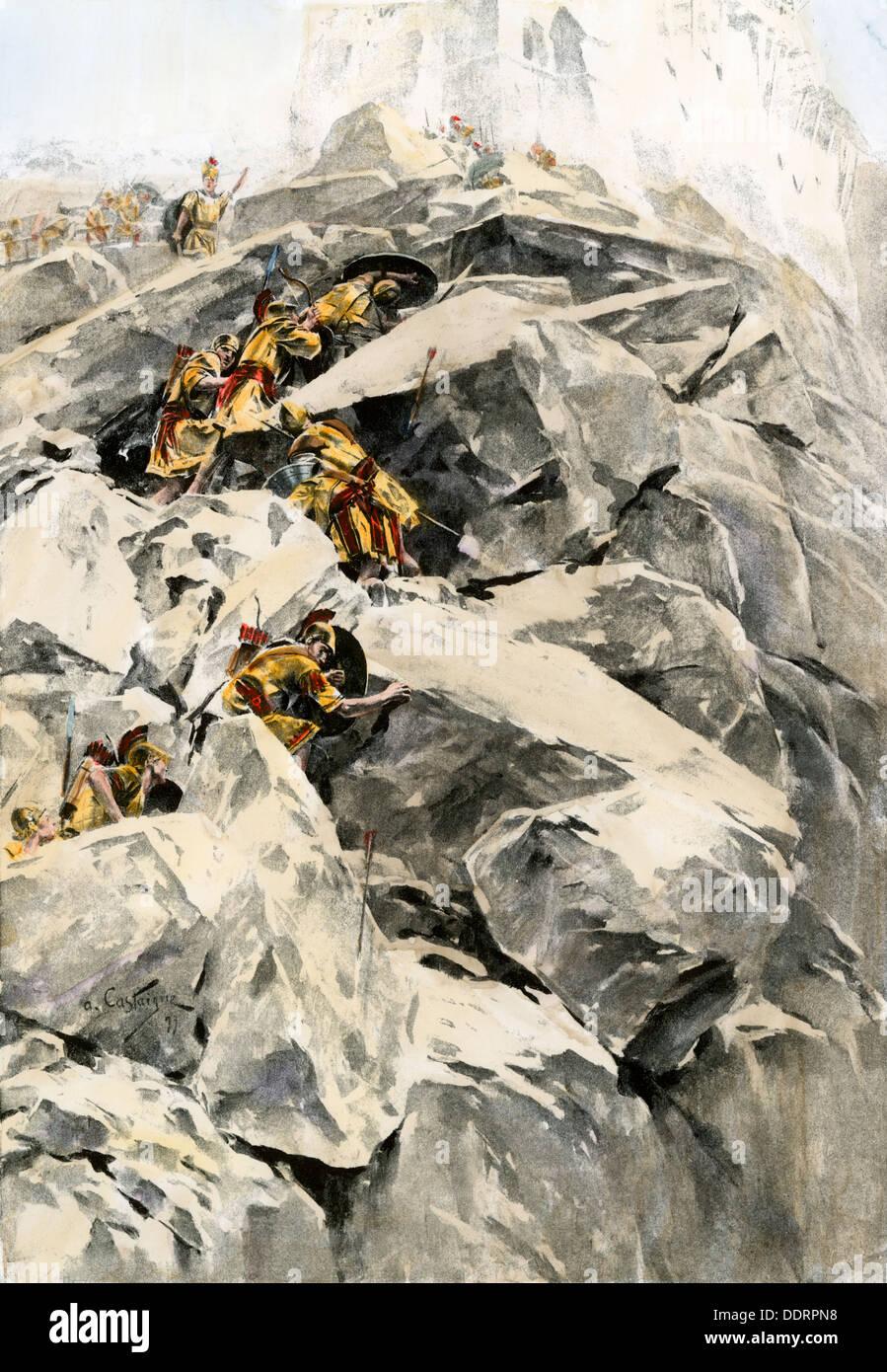 El ejército de Alejandro Magno atacando la fortaleza de Porus sobre un afluente del Indo, 326 BC. Mano de color halftone de ilustración. Imagen De Stock