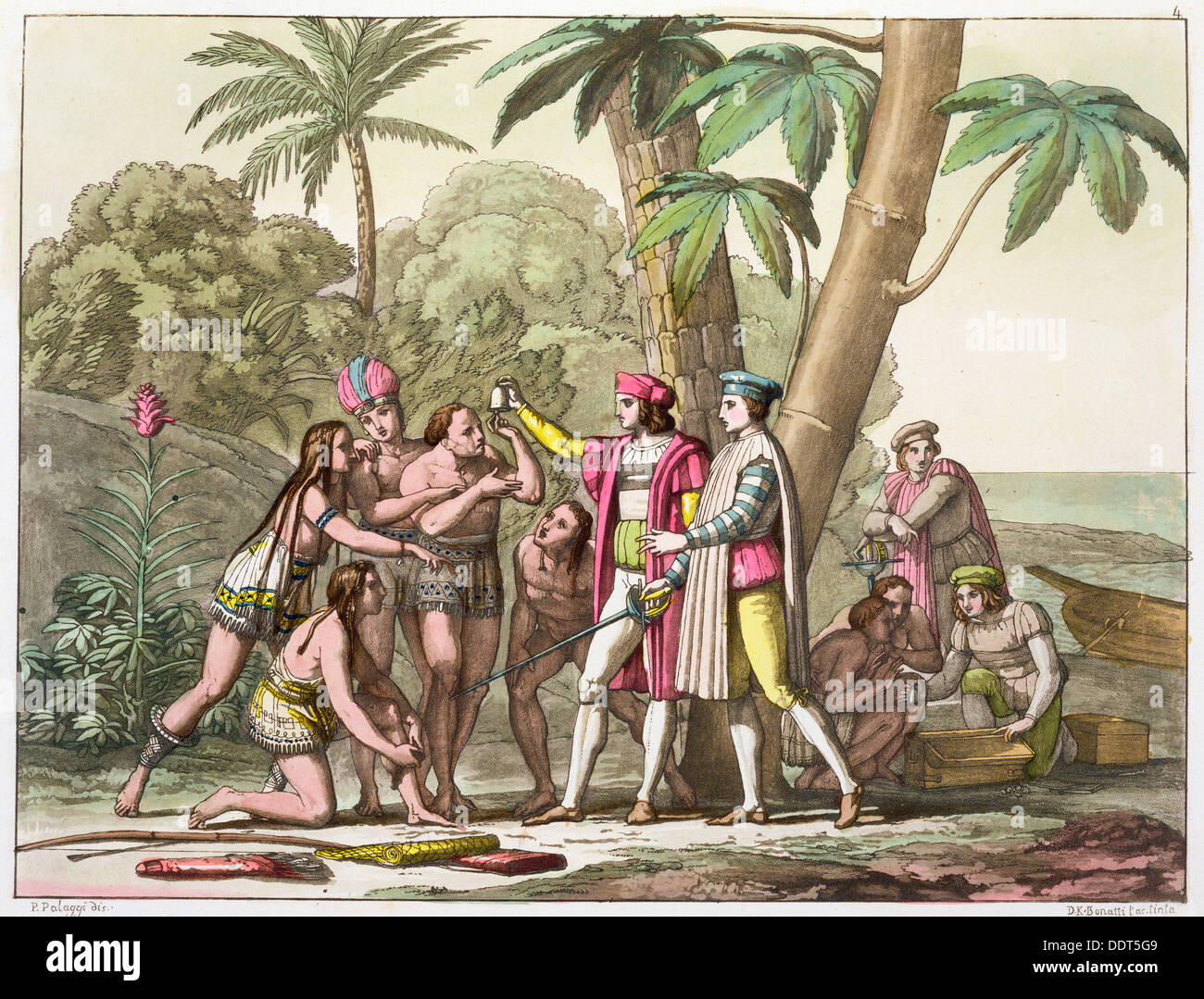 Cristóbal Colón con los nativos americanos, 1492-1503 (C1820-1839). Artista: DK Bonatti Imagen De Stock