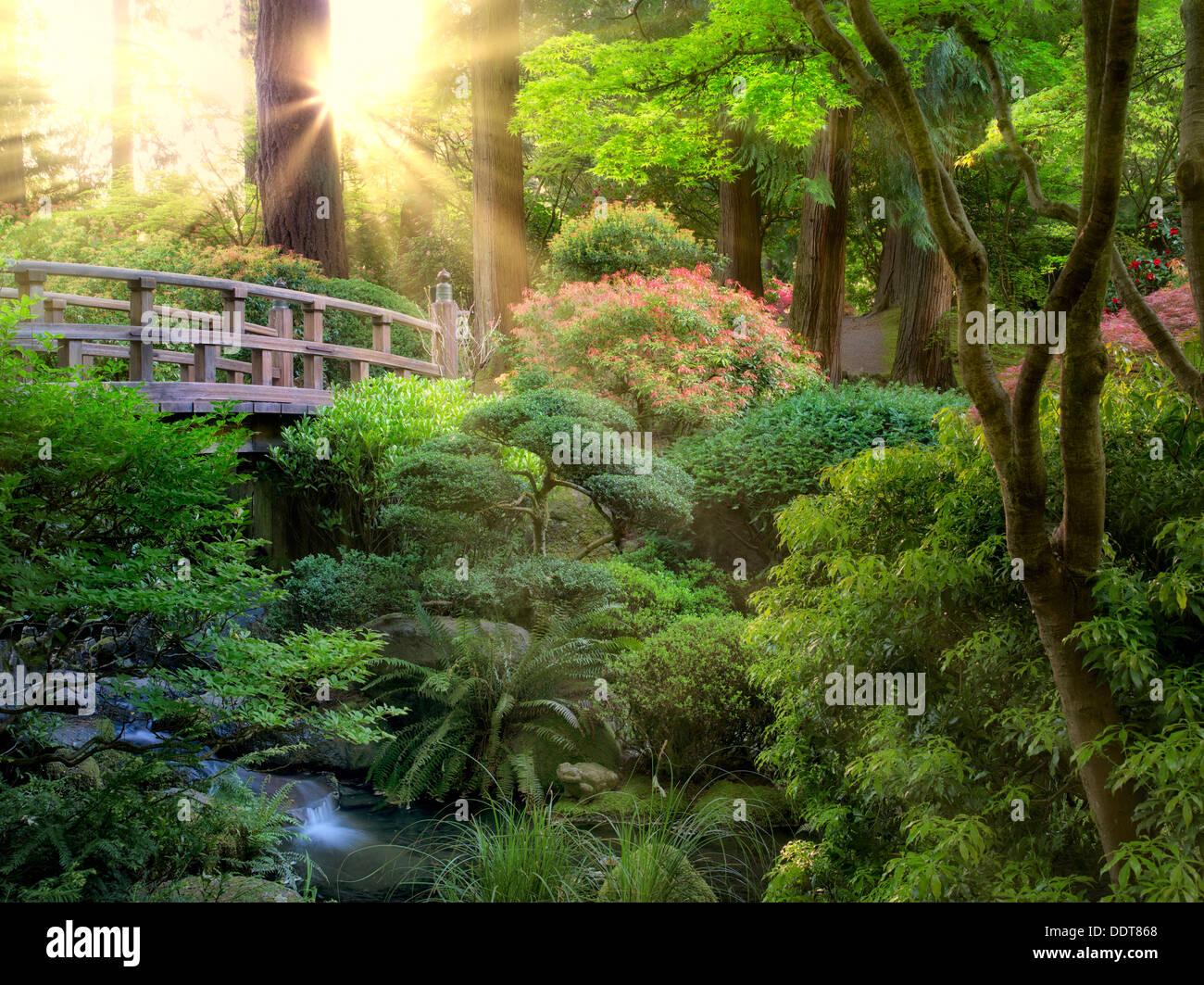 Puente y arroyo. En el jardín japonés de Portland, Oregón Foto de stock