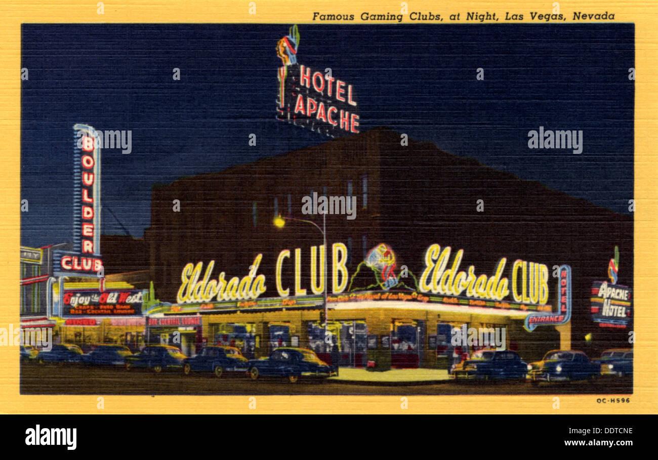 Los Juegos Famosos Clubes Nocturnos De Las Vegas Nevada Postal