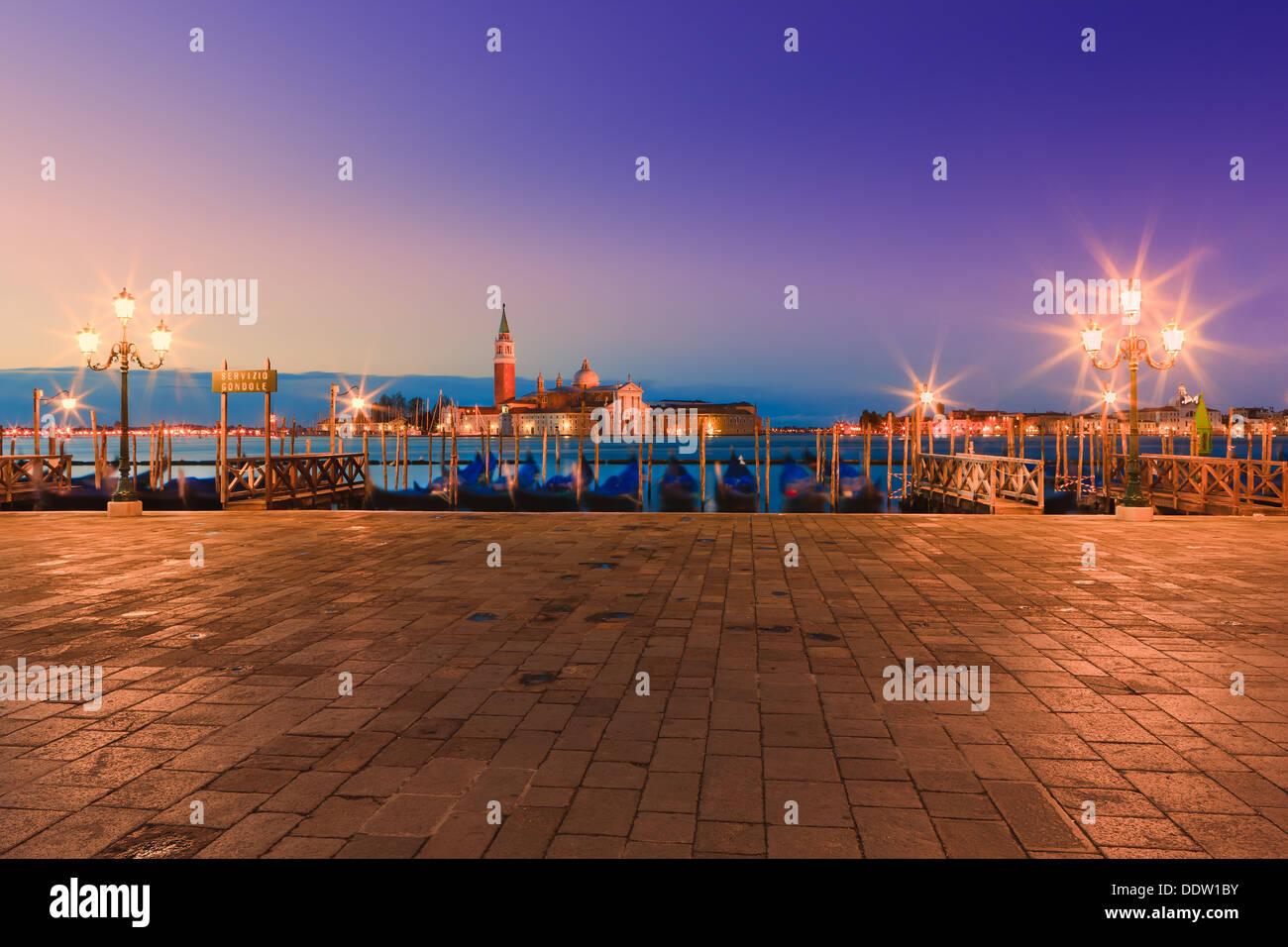 Amanecer en Venecia con la vista desde la plaza de San Marcos Imagen De Stock