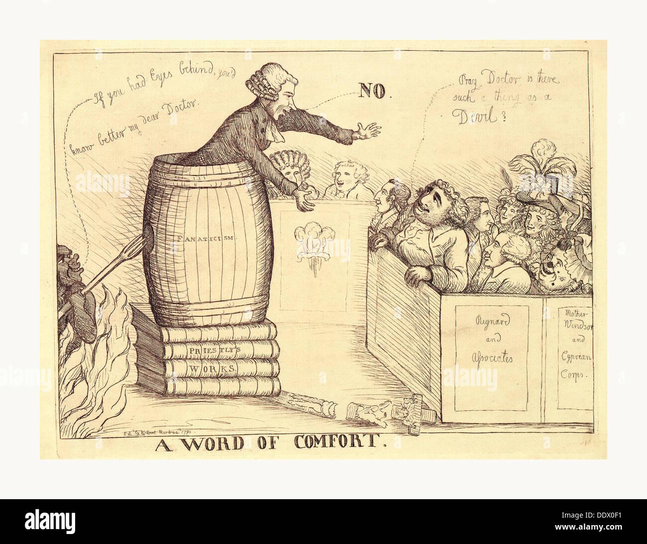 Una palabra de consuelo, Dent, William, activa, 1783-1793 en sanguina grabado 1790, una sátira británica sobre los esfuerzos de Charles James Imagen De Stock