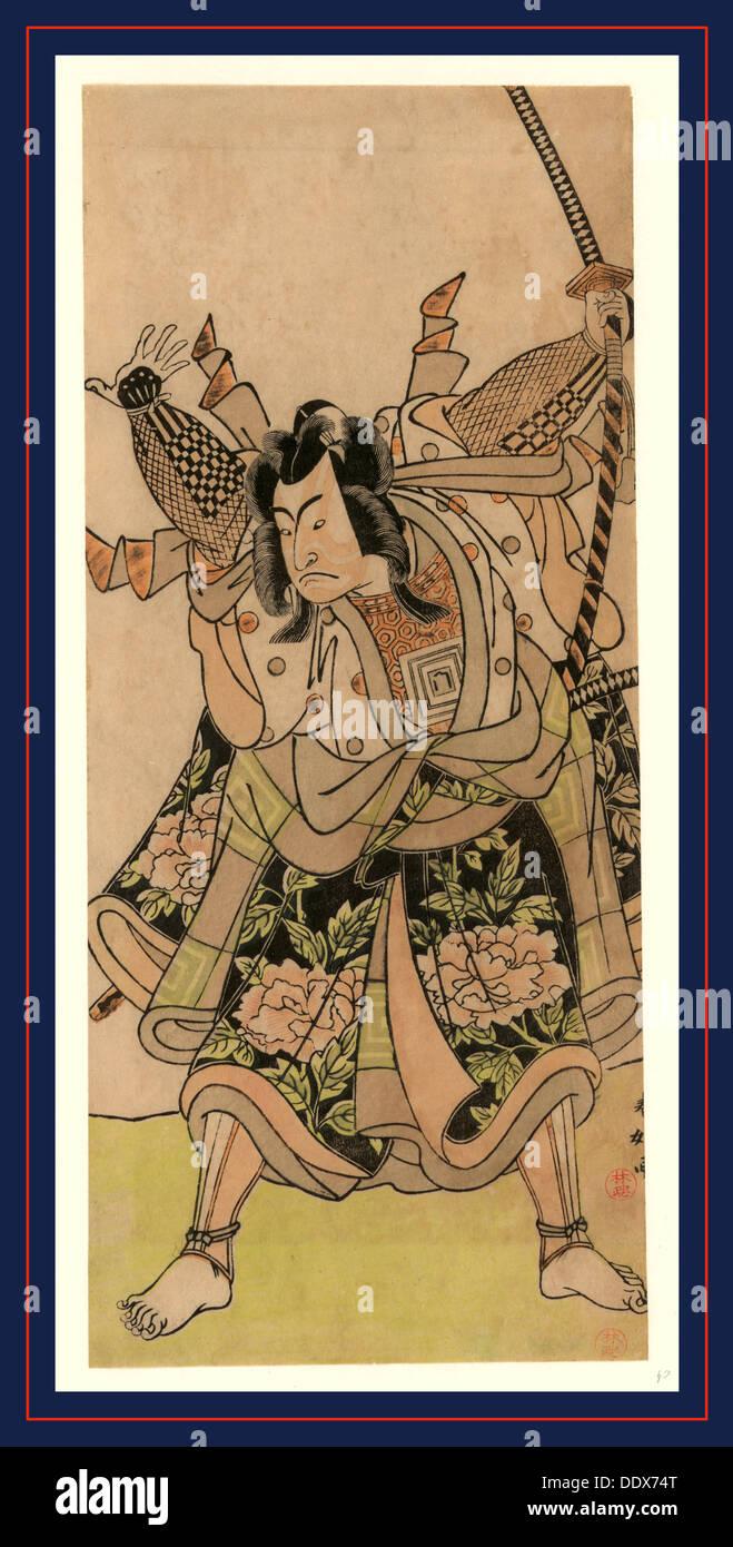 Ichikawa monnosuke, el actor Ichikawa Monnosuke. [Entre 1772 y 1781], 1 Imprimir : xilografía, color ; 30,1 x 13 cm. Imagen De Stock