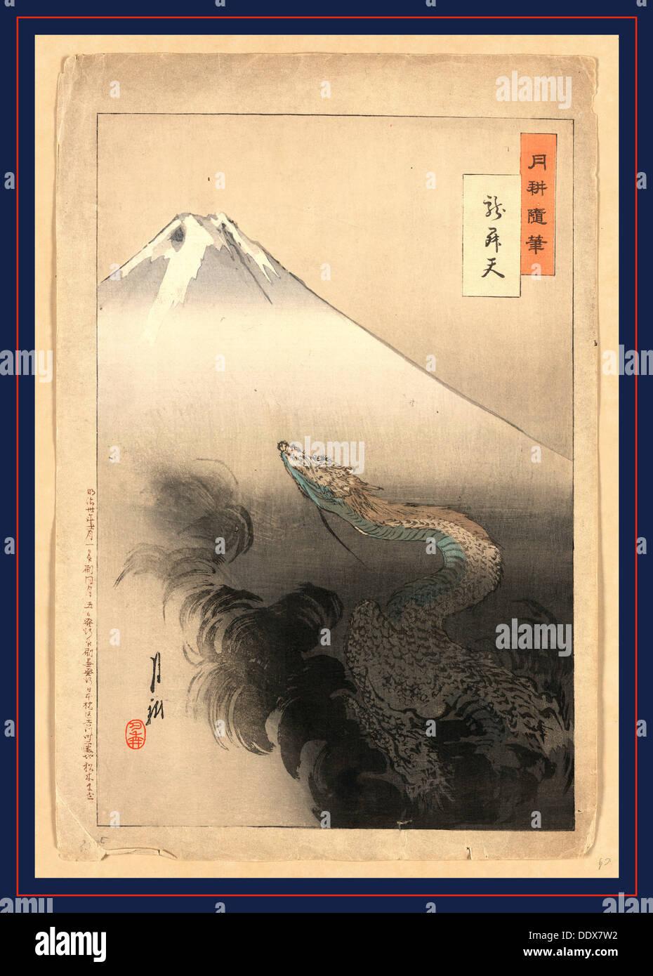 Ryu shoten, Dragon Rising, a los cielos. 1897., 1 Imprimir : xilografía, color ; 37,5 x 24,7 cm., impresión muestra a una serpiente o un dragón Imagen De Stock