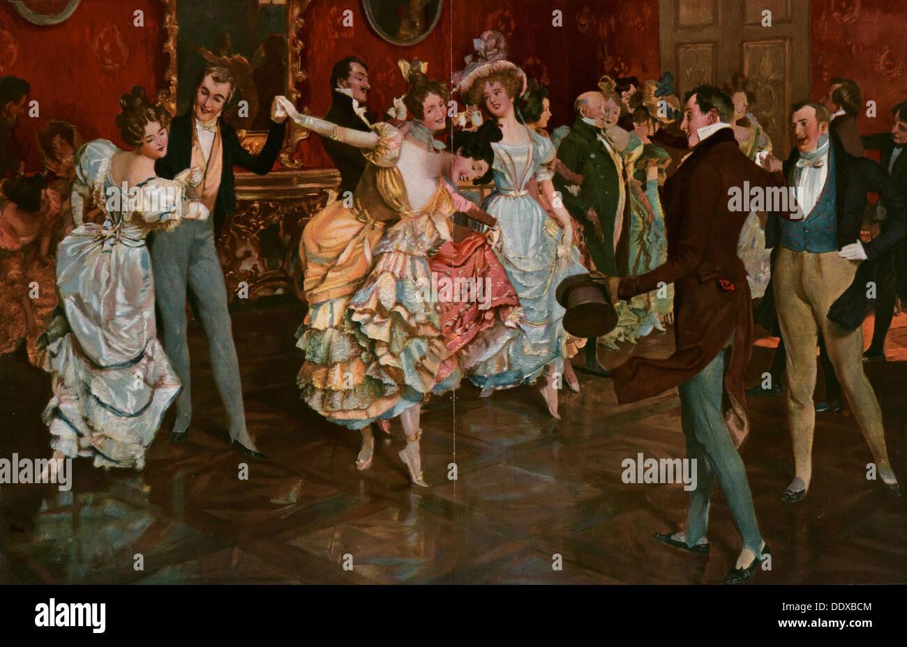 Pintura danza por Leopoldo Schmutzler 1864-1941, pintor bohemio, vivía en Alemania. Baile, bailarina, jóvenes, movimiento, hembra, macho Imagen De Stock