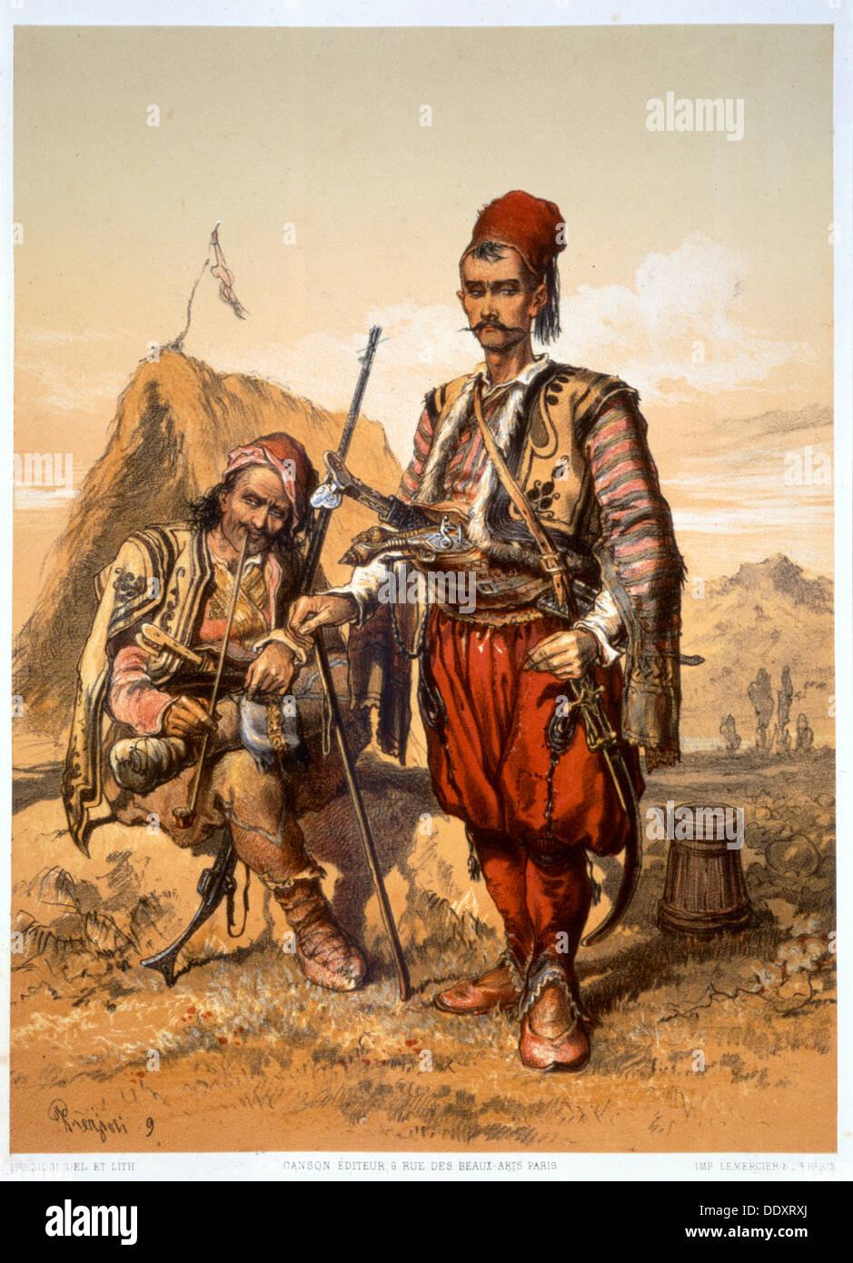 A pie, los soldados turcos en el ejército otomano, 1857. Artista: Amadeo Preziosi Imagen De Stock