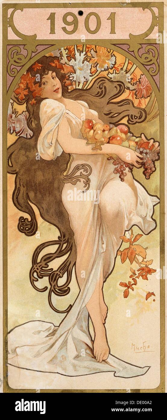 Calendario por el año 1901, C1900. Artista: Alphonse Mucha Foto de stock