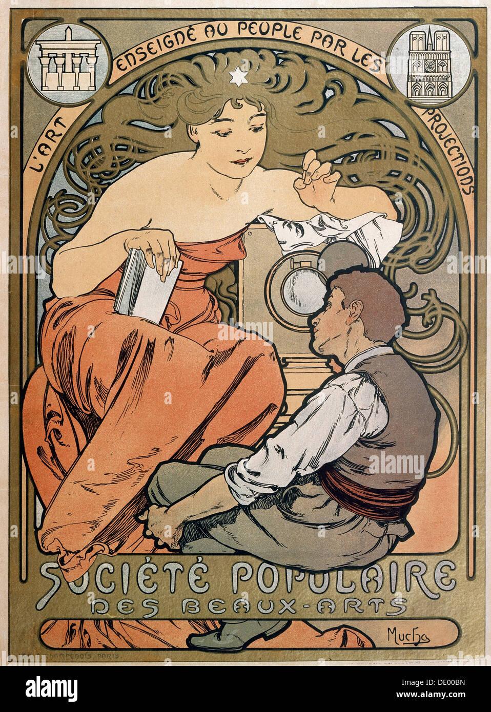 Cartel de la Société Populaire des Beaux Arts, 1897. Artista: Alphonse Mucha Foto de stock