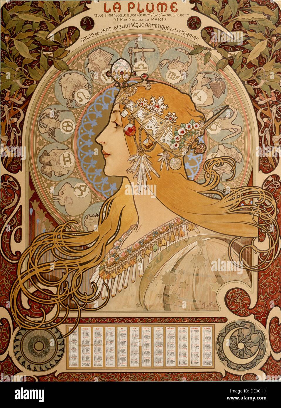 Calendario zodiacal, 1897. Artista: Alphonse Mucha Foto de stock