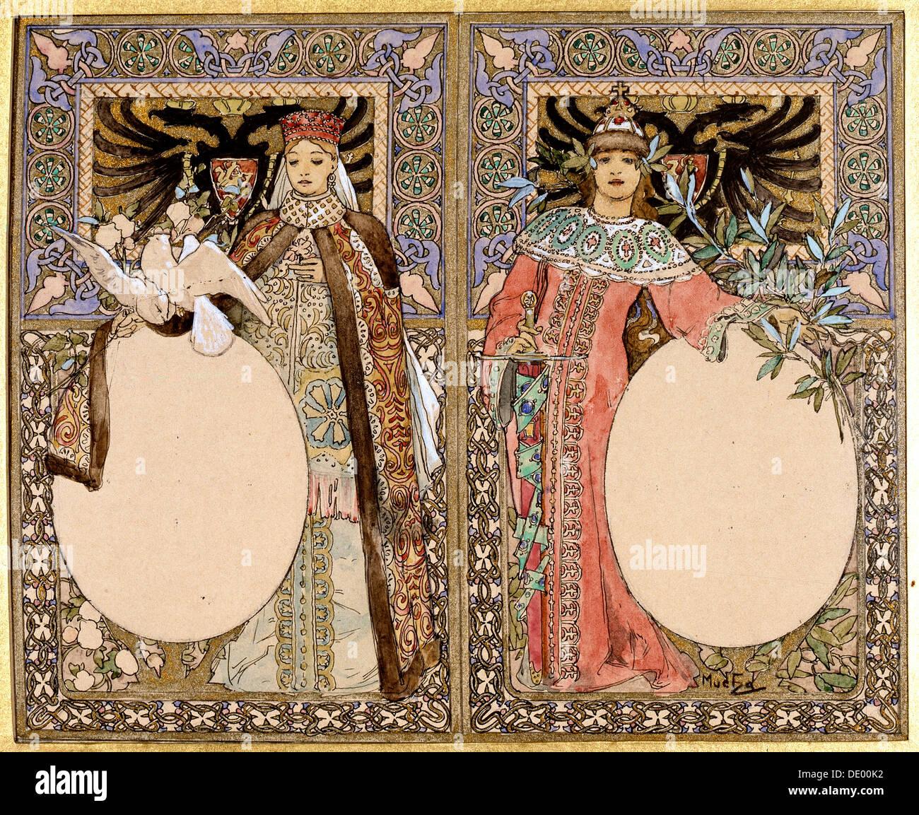 La ilustración de libros, 1890. Artista: Alphonse Mucha Foto de stock