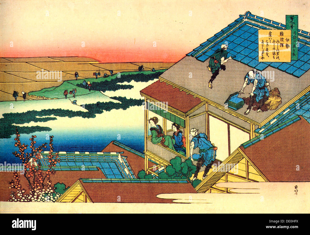 De la serie cien por cien poemas poetas: Lady Ise, c1830. Artista: Hokusai Imagen De Stock