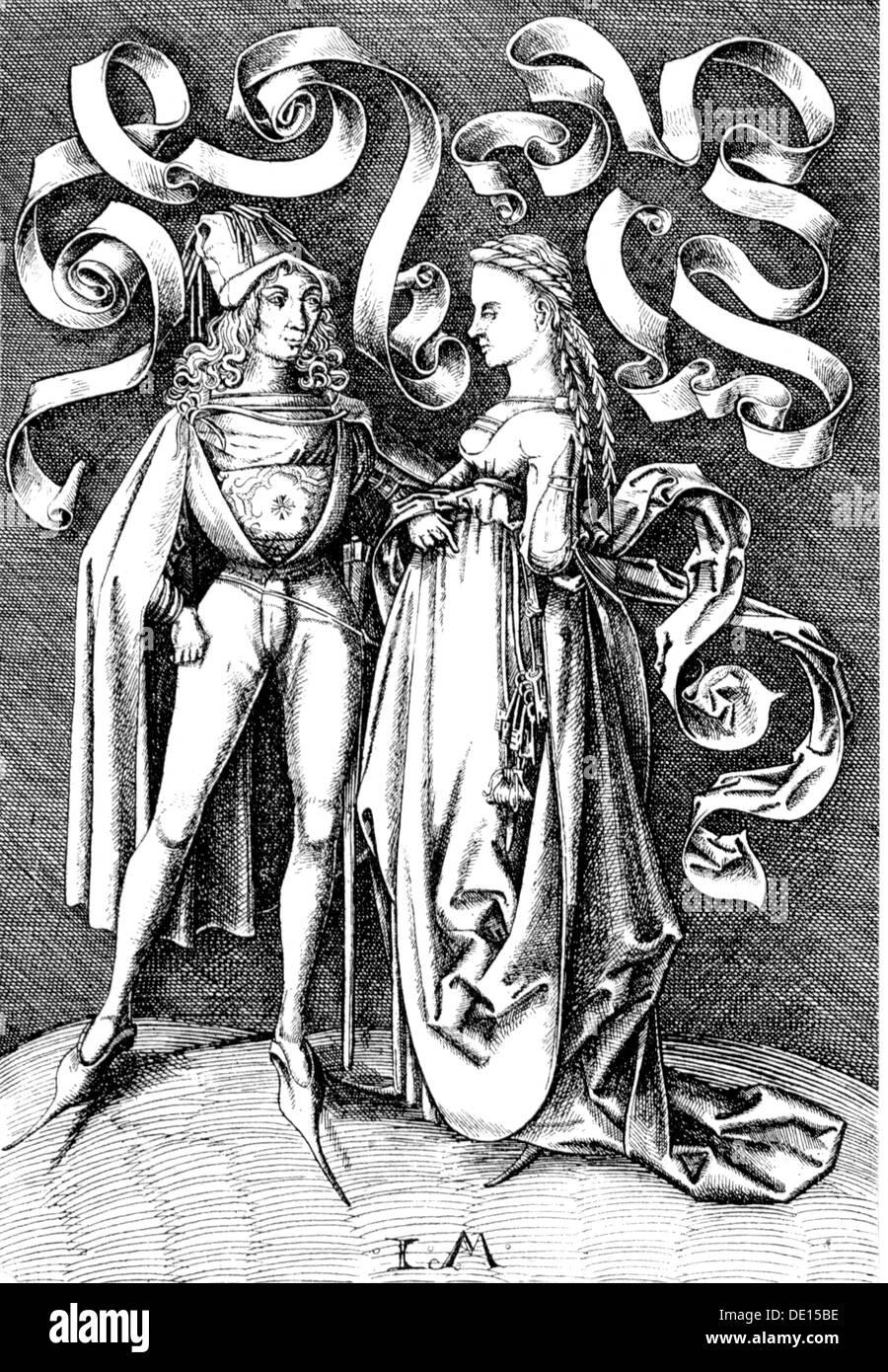 Moda, Edad Media, Alemania, bajo alemán de ropa de hombre y de mujer, grabado en cobre por Israhel van Meckenem el Joven (circa 1440 - 1503), la segunda mitad del siglo XV, del siglo XV, gráfico, gráficos, el bajo alemán, ropa, ropa, trajes, longitud completa, de pie, vestido, vestidos, headpiece, cintillos, cap, gorras, la moda masculina, Cape, CAPES, cabello, peinado, peinado, peinado, corte de pelo, peinados, peinados, cortes de pelo, las damas de moda, ropa de mujer, moda para la mujer, la firma, firmas, histórico, histórico, mujer, mujer, mujer, hombre, los hombres, los derechos de autor, el artista no tiene que ser borrados Imagen De Stock