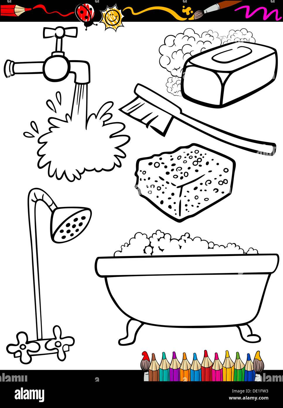 Libro Para Colorear De Página O Ilustración De Caricatura En Blanco