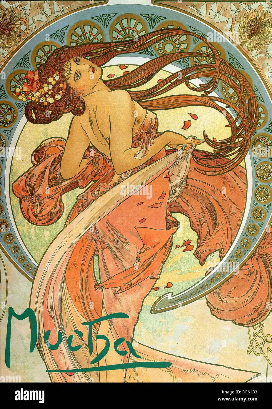 Danza (a partir de la serie de las Artes), 1898. Artista: Mucha, Alfons Marie (1860-1939) Foto de stock