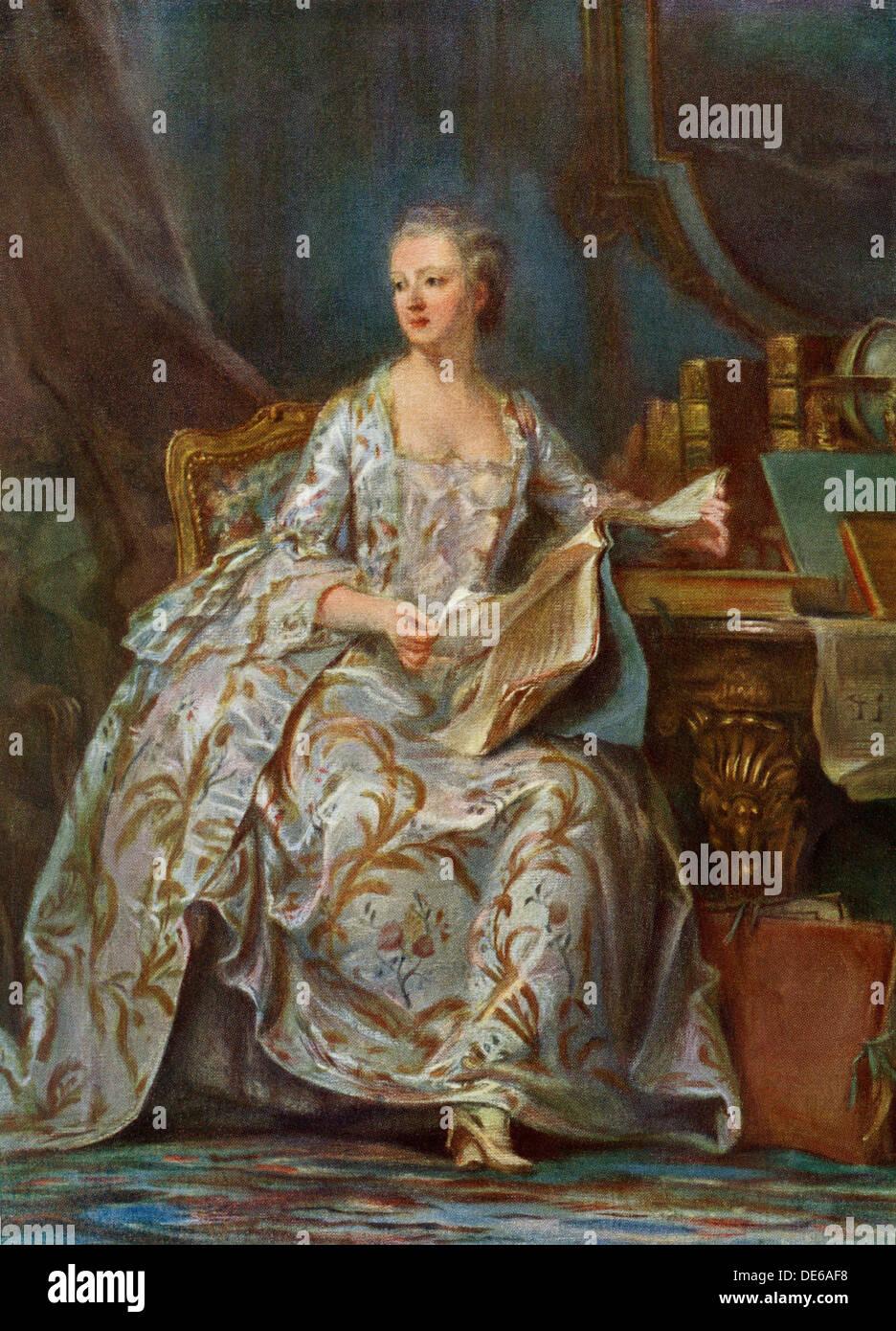Madame de Pompadour, amante del rey francés Luis XV. La reproducción del color de una pintura de Latour Foto de stock